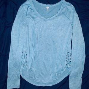 Teal Long Sleeve Lace Up Sides